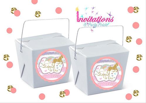 Unicorn themed personalised noodle box