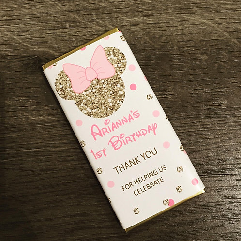 Minnie Mouse gold glitter head chocolate bar