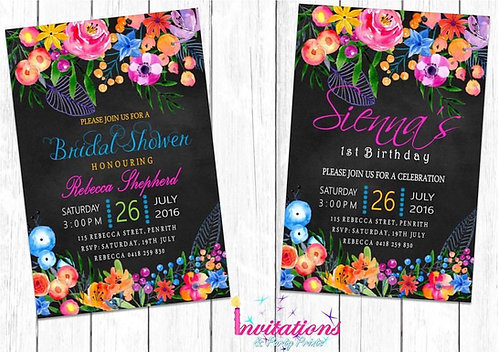 Chalk floral Invitation