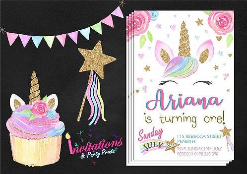 Unicorn sparkle Invitation