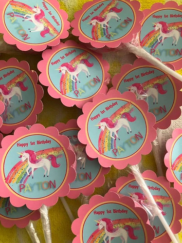 Unicorn rainbow lollipops x 12