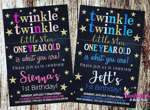 Twinkle twinkle little star Invitations
