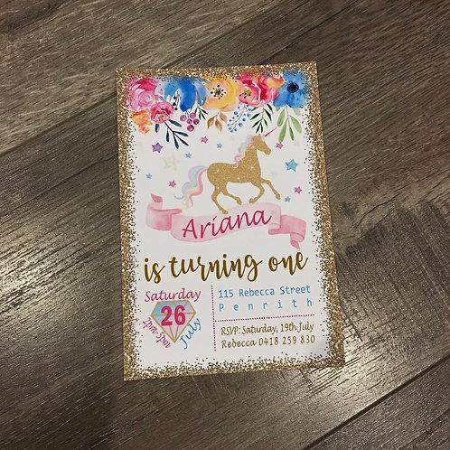 Unicorn floral glitter