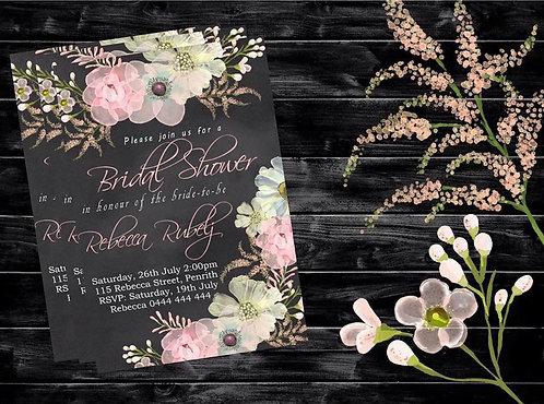 Bridal shower flower chalk invitation