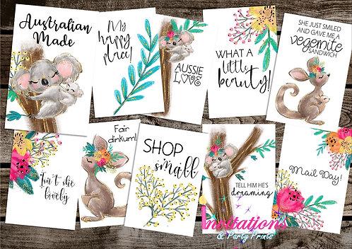 Australia themed Flatlay cards