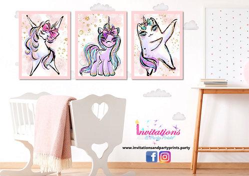 Unicorn wall prints set