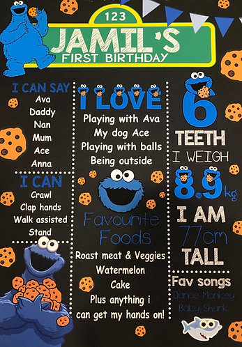 Cookie Monster milestone chart (digital file)