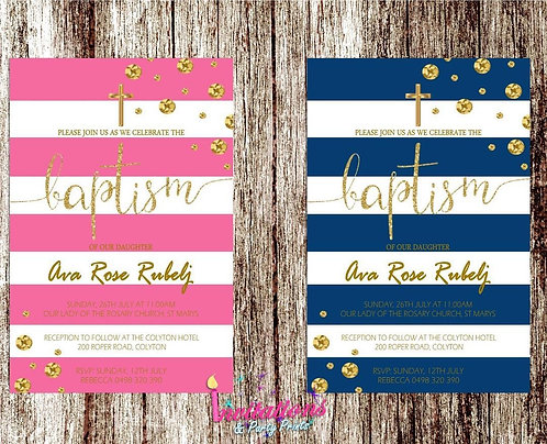 Baptism stripe invitation 2