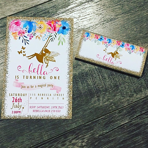 Fairy swing invitation