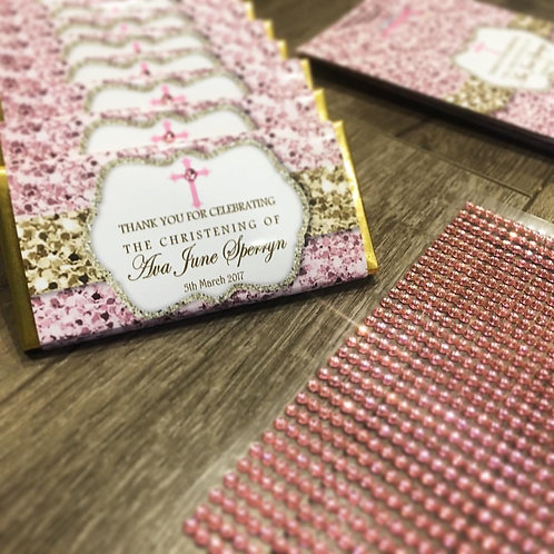 Baptism pink and gold chocolate bar