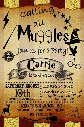 Harry Potter Invitation digital file