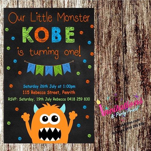 Monster chalk invitation