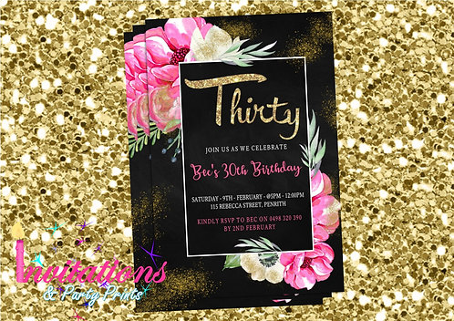 Flower glitter chalk invitation