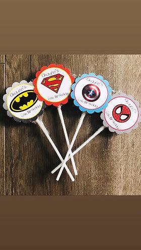Superhero lollipops mixed x 12