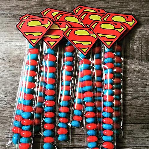 Superman jelly bean tubes