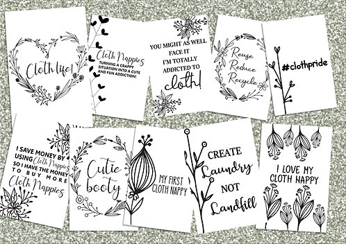 Cloth nappy Flatlay cards