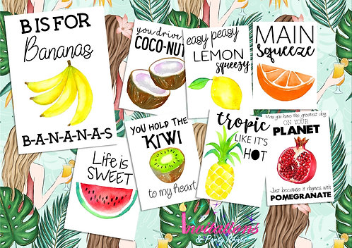Fruit flatlay cards x 8