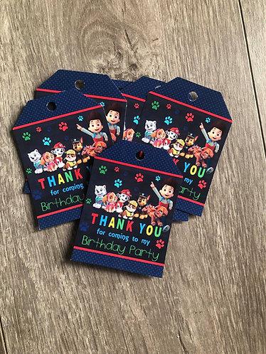 Paw patrol gift tag