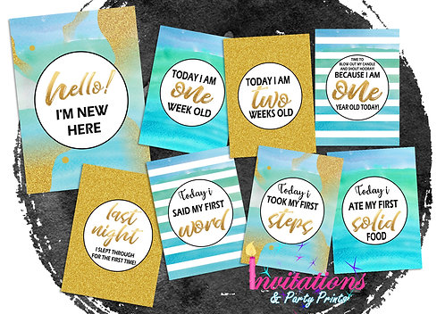 Blue and gold watercolour milestone cards
