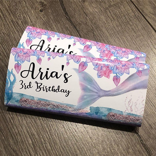 Mermaid watercolor chocolate bar