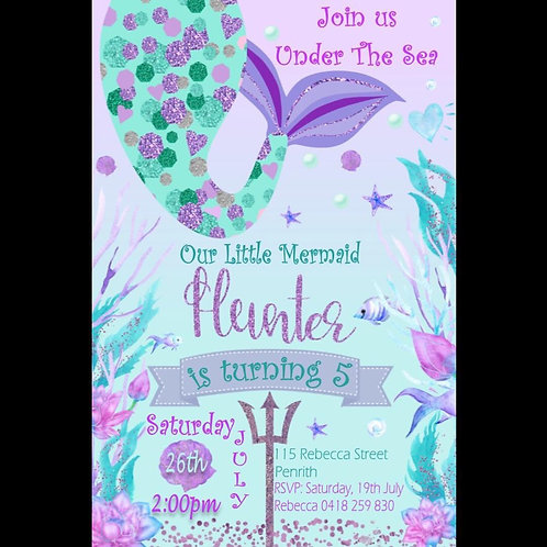 Mermaid under the sea invitation