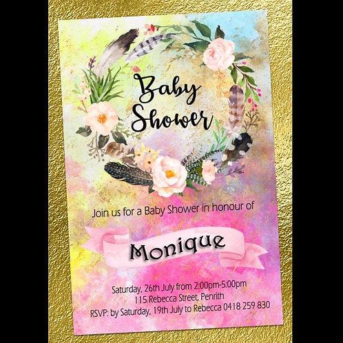 Baby shower flower wreath invitation