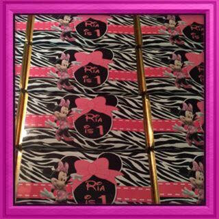 Minnie Mouse zebra print chocolate bar