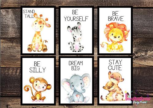 Safari animal wall prints x 6