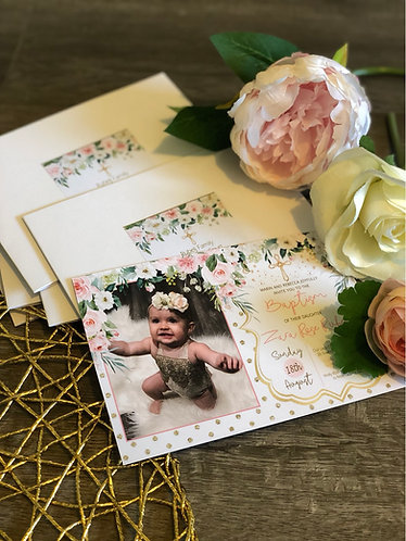 Blush floral baptism invitation with photo