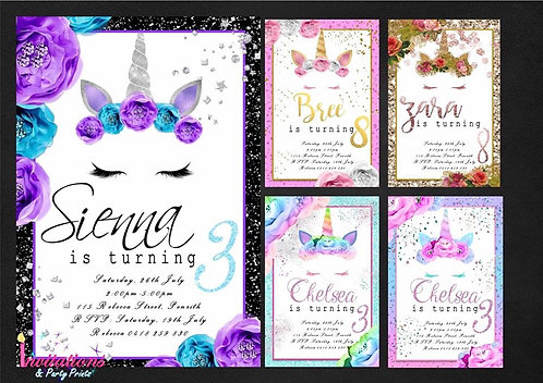 Unicorn sleepy floral face Invitation