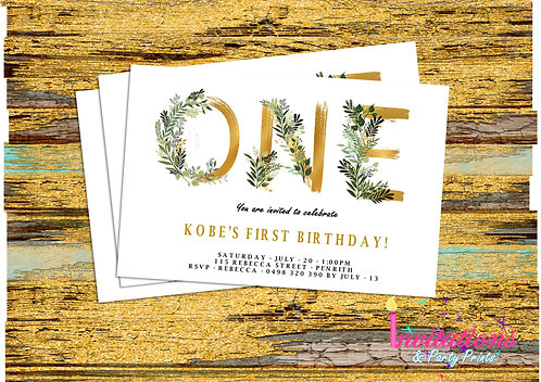 Gold leaf One Invitation