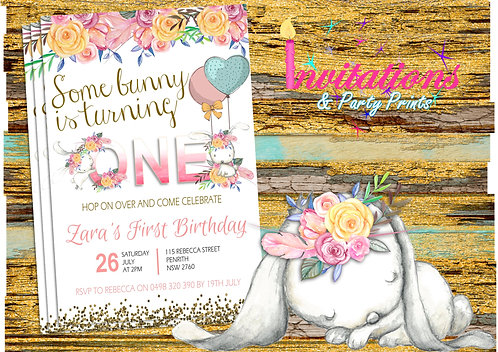 Bunny watercolor invitation