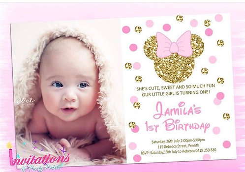 Minnie Mouse glitter invitation with pic