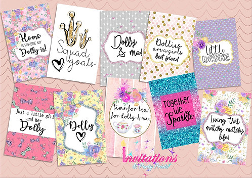 Dolly and me Flatlay cards