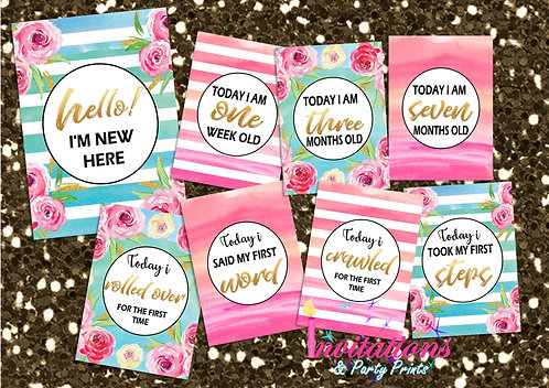 Peony pink, blue and gold milestone cards