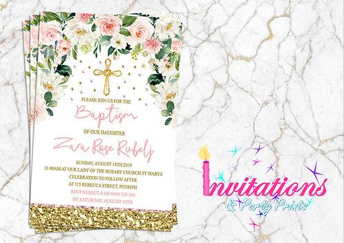Blush floral gold baptism invitation