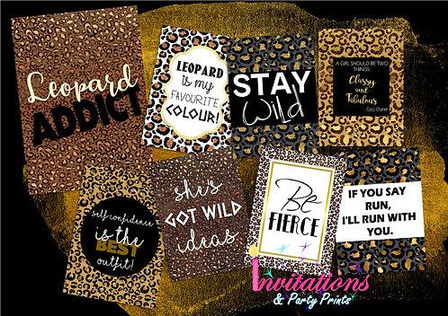 Leopard print flat lay cards