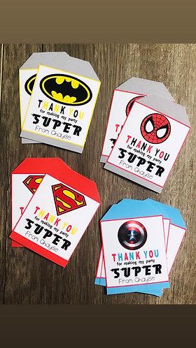 Superhero gift tags