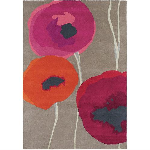 Sanderson Poppies Rug Red/Orange