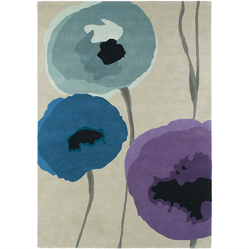 Sanderson Poppies Rug Indigo/Purple