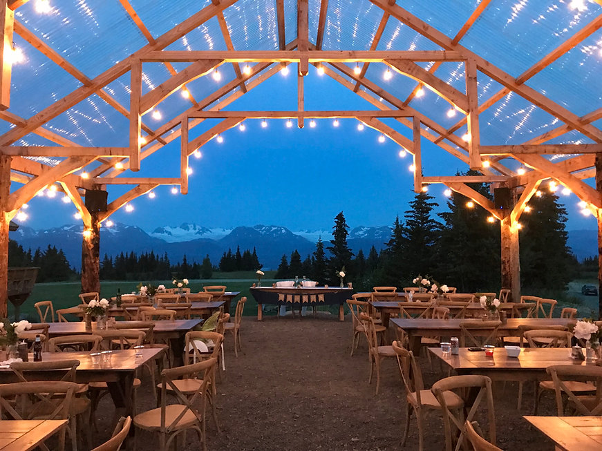 Pavilio at AK Diamod J Ranch Wedding and Event Venue in Homer Alaska