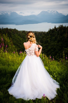 July - Bride overlooking Kachemak Bay. Styled Shoots Across Ameerica.