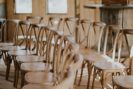 real wood cross back farmhouse chairs at AK Diaond J Ranh Heritage Barn