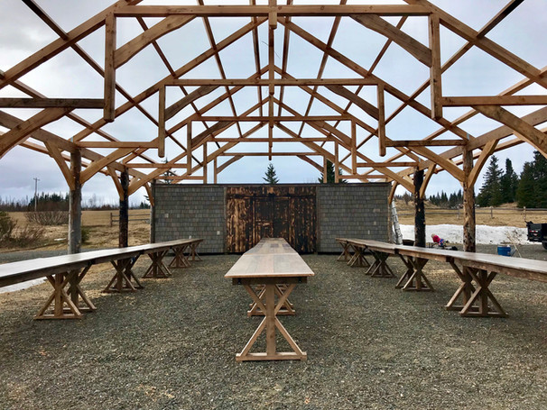 Pavilion and Rustic Tables, wedding decor