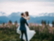 Alaskan wedding venue, bride and groom with fireweed and moutains near Kachemak Bay