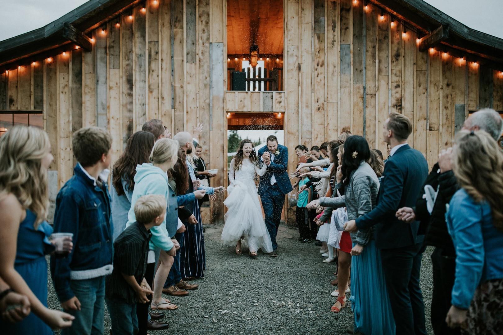 Bride and Groom wedding send off at Heritage Barn