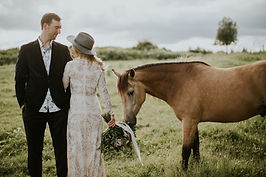 Bride, Groom and Horse in Homer Alaska at AK Diamond J Ranch Venue