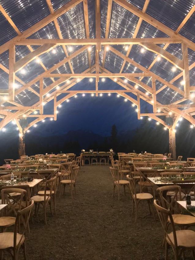 Pavilion at Night, vintage lighting