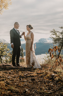October - Fall wedding, Bride and Groom at Diamond Willow point overlooking Kachemak Bay