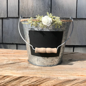 Chalk Front Tin Bucket